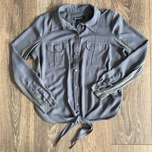 INC Tie-Front Button-Up Blouse
